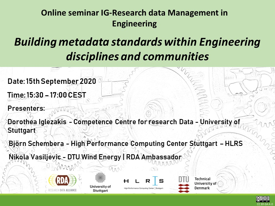 Building metadata standards within Engineering disciplines and communities