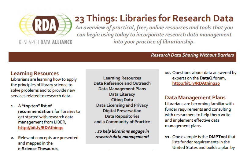 Going global with 23 Things for Research Data Management