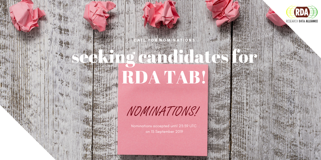 Call for Nominations for the 2019 RDA Technical Advisory Board