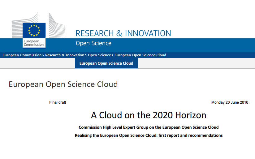 European Open Science Cloud - first draft report from the High Level Expert Group has been published