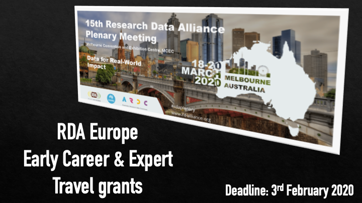 RDA EU Travel grants for the 15th RDA Plenary Melbourne, Australia | March 2020