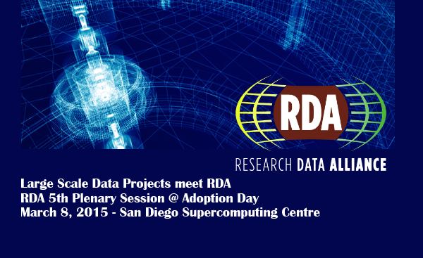 Large Scale Data Projects meet RDA Session @ the RDA 5th Plenary, 8 March 2015, San Diego Supercomputer Center