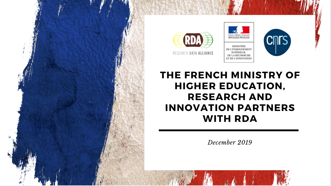 The French Ministry of Higher Education, Research and Innovation partners with the Research Data Alliance