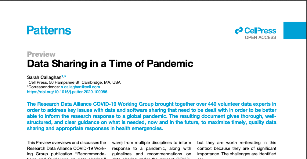 Data Sharing in a Time of Pandemic. Patterns Preview on RDA COVID-19 Group results