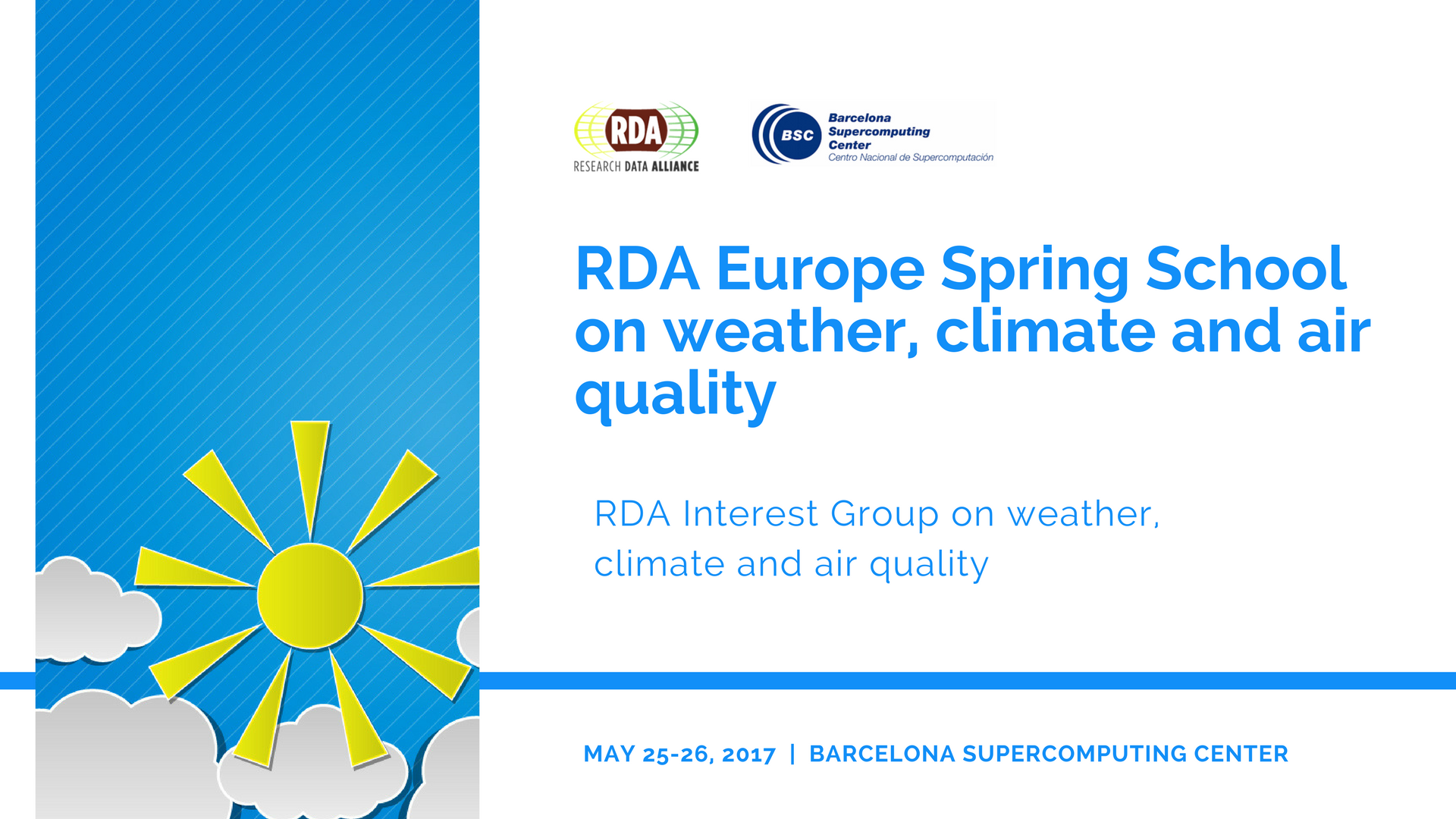 RDA Europe spring school on weather, climate and air quality, 25-26 May 2017, Barcelona