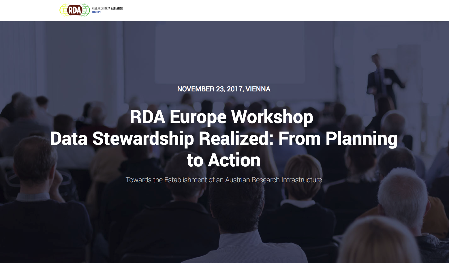 Data Stewardship Realized: From Planning to Action - 23 November 2017, Vienna, Austria