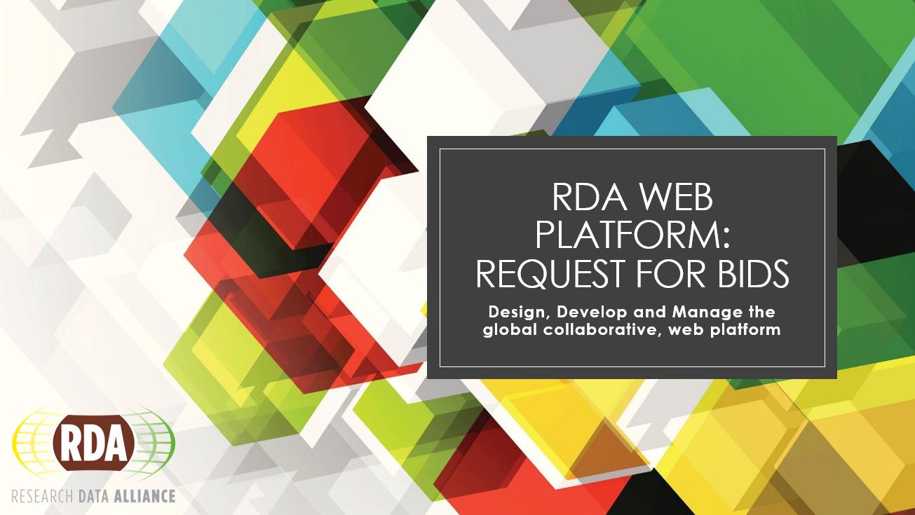 RDA Web Platform - Request for Applications