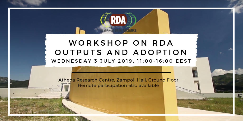 Workshop on RDA outputs and adoption  Athena Research Centre