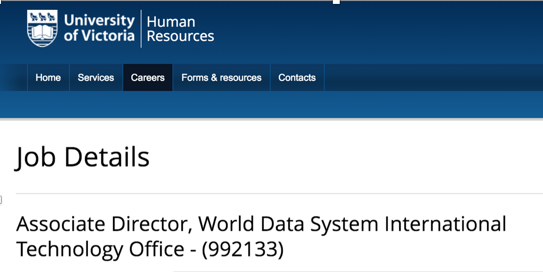 Job posting:  Director of Office, World Data System International Technology Office, University of Victoria
