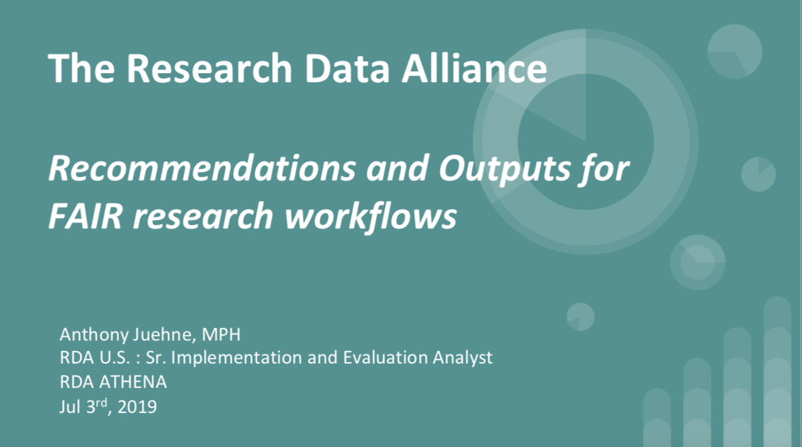RDA Solutions for FAIR Research Workflows