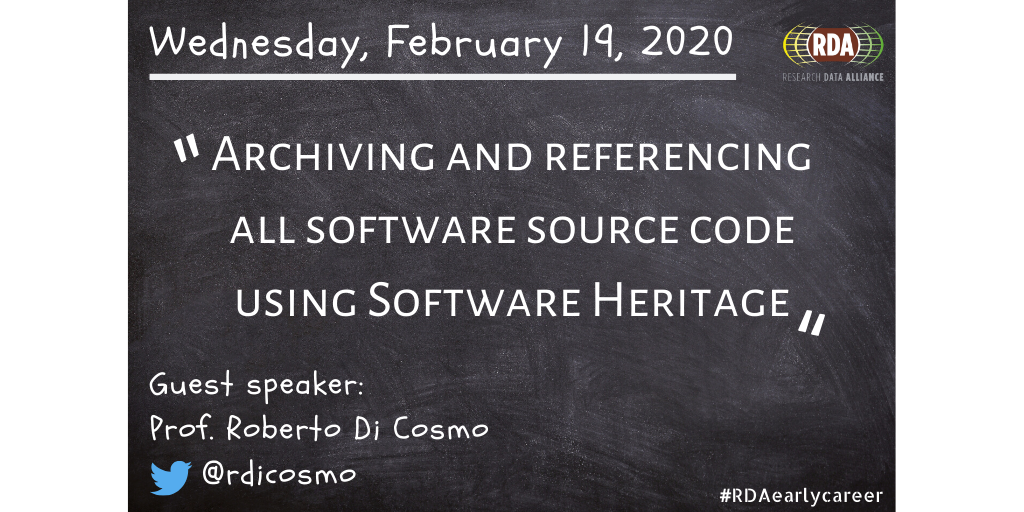 Ask Me Anything Call On Archiving and referencing all software source code using Software Heritage. Wednesday, February 19th at 15:00-16:00 UTC (10:00-11:00 EDT)