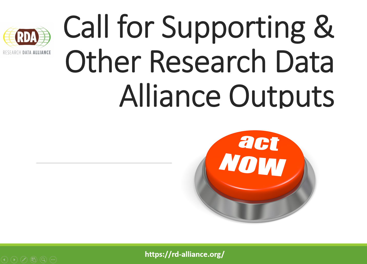 Call for Supporting and Other RDA Outputs