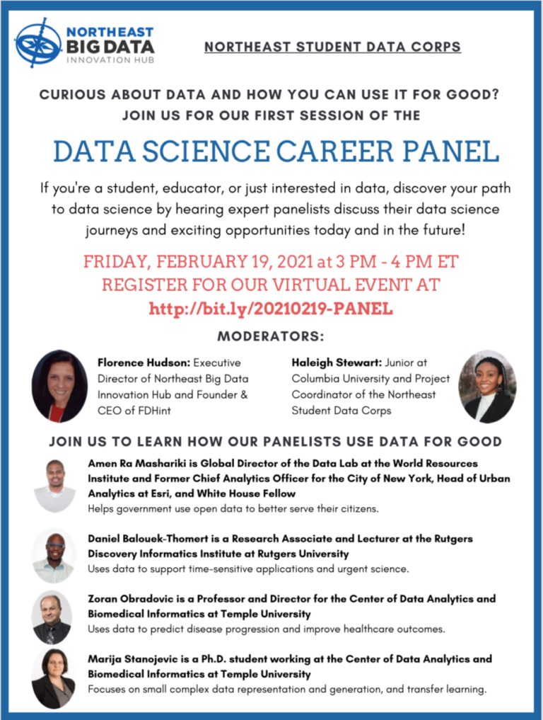 Northeast Student Data Corps: Inaugural Data Science Career Panel