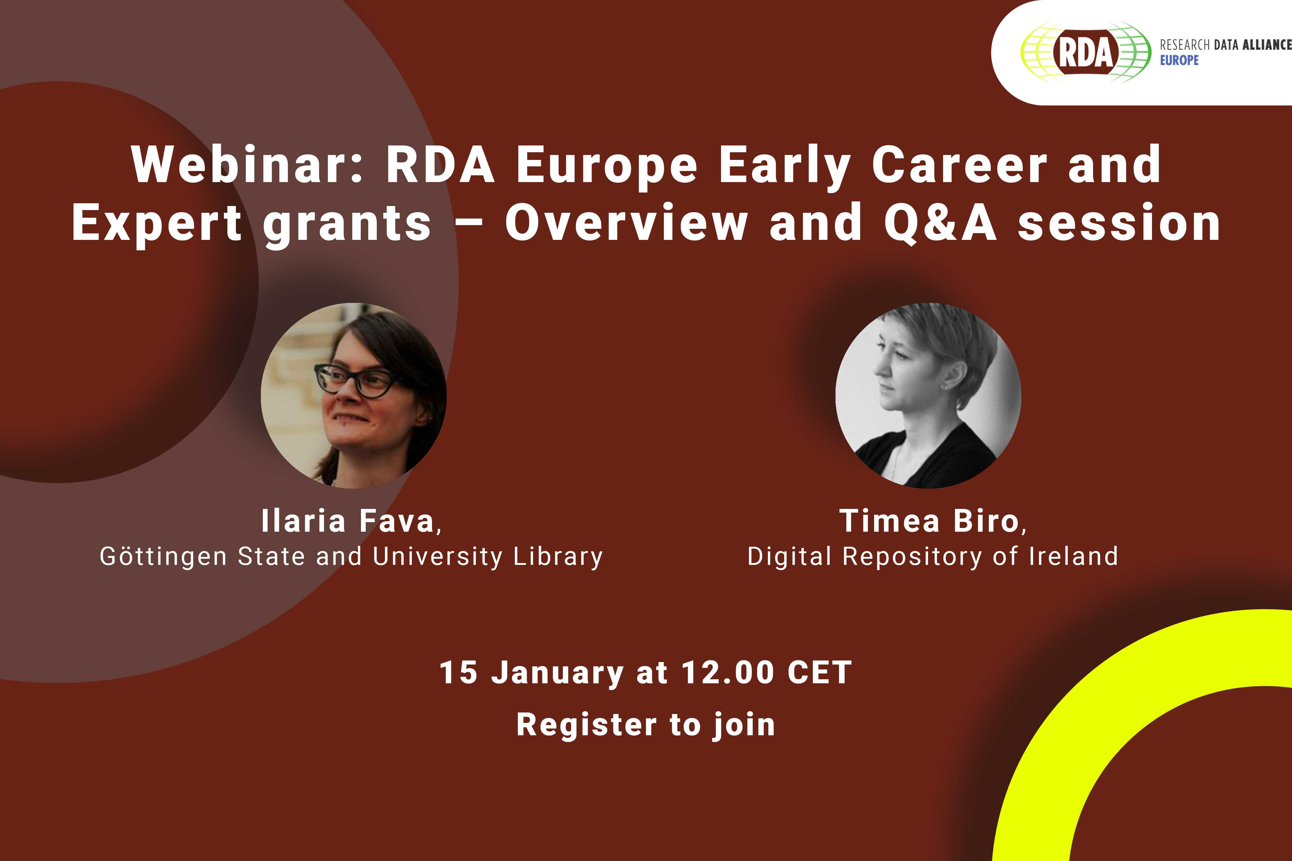 Webinar: RDA Europe Early Career and Expert grants – Overview and Q&A session